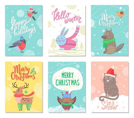 Prettige feestdagen en Merry Christmas set posters. Stock Illustratie