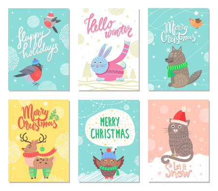 Happy holidays and Merry Christmas set of posters. Illustration