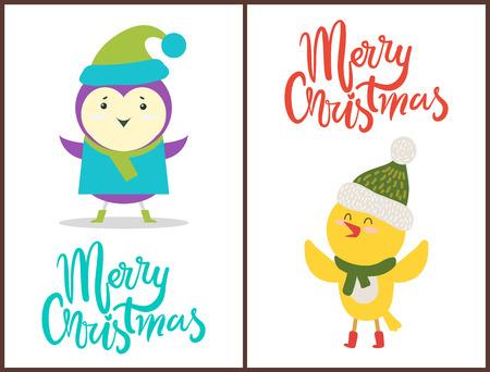 Merry Christmas banners congratulation from birds. Stock Illustratie
