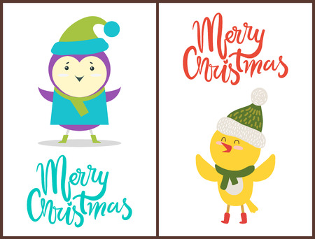 Merry Christmas banners congratulation from birds. Illustration