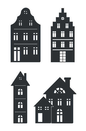 Black silhouettes of buildings isolated on white background. Vector illustration with set of different black houses with weird roofs and windows
