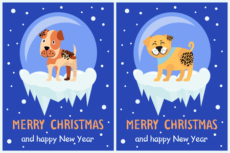 Merry Christmas and Happy New Year festive posters with dogs in glass bubbles with bottom covered with ice cartoon vector illustrations greeting cards Illustration