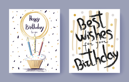 Birthday greetings with cake and typography Illustration.