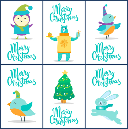 Merry Christmas, cards and titles collection, images of birds with hats and scarves, bear wearing knitted sweater and pine tree vector illustration
