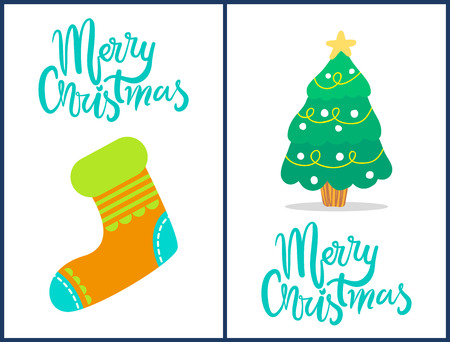 Merry Christmas, set of compositions consisting of images of colorful sock and symbolic tree and decorated headlines isolated on vector illustration Vectores