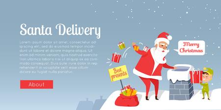 Santa Christmas und schnelle Lieferung der besten Geschenke. Claus wirft Geschenke in den Schornstein. Karikatur Sankt und Zwerg, die auf Dach des Hauses, Gnom steht, gibt Geschenkbox. Feiertagsvektorweb-Fahne. Standard-Bild - 98291670