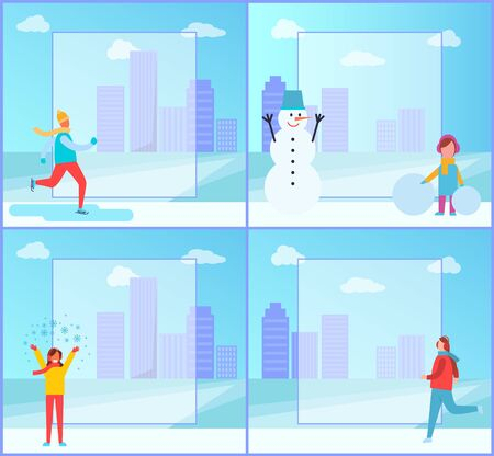Banners set on winter theme, people doing different activities, girl creating snowman and man skiing on ice, collection on vector illustration