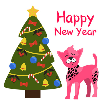 Happy New Year greeting card cartoon pink spotted dog and decorated Christmas tree topped by golden star, with garlands, candies and balls, red bows