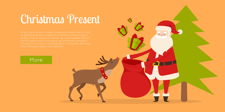 Reindeer helps Santa to prepare Christmas gifts. Illustration