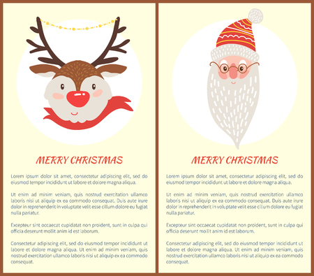 Merry Christmas colorful set of two postcards. Illustration