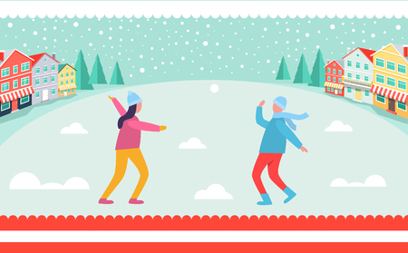 People playing snowballs vector illustration.