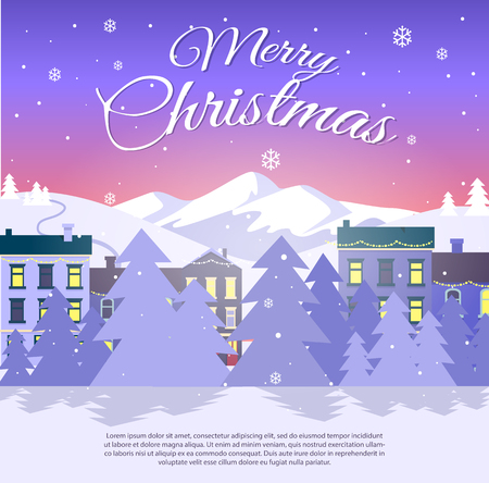 Postcard with Merry Christmas on city background.