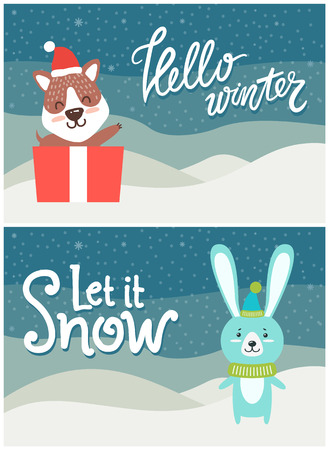 Hello winter let it snow bright snowy postcard with fox and present and smiling hare in warm clothes. Vector illustration with congratulation from animals