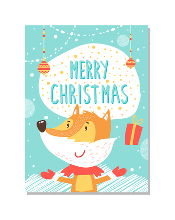 Merry Christmas greeting card with fox juggling.