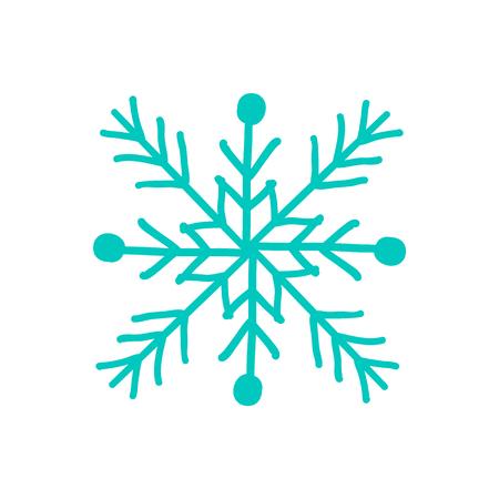 Snowflake closeup of icon on vector illustration.