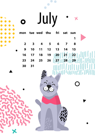 July calendar for 2018 year with friendly malamute.