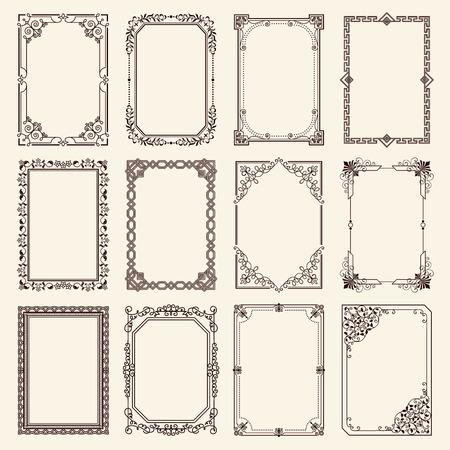 Vintage swirly zwart en wit elegante frames instellen.