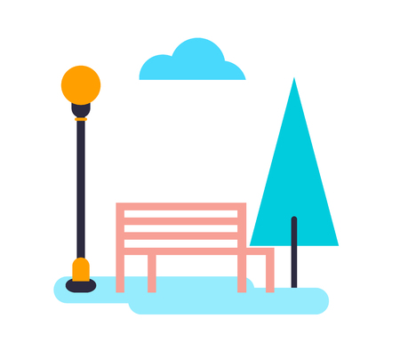 Tree and bench with cloud vector illustration.