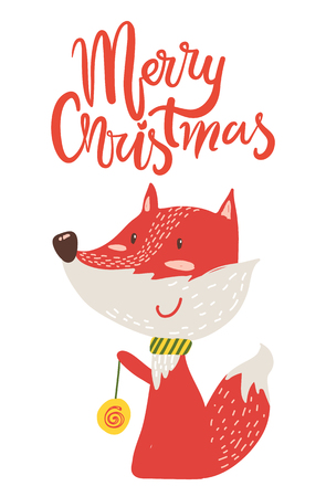 Merry Christmas Poster Congratulation from Fox isolated on white