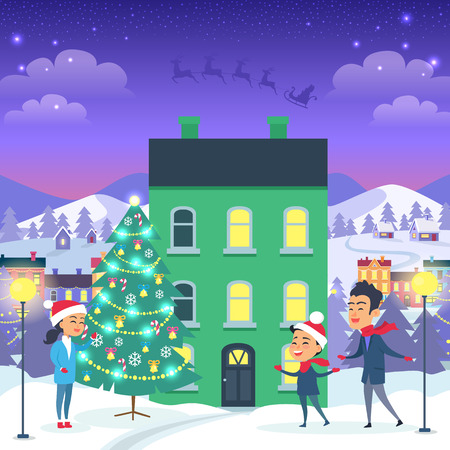 Happy Family and Fir Tree on Night City Background Stock Illustratie
