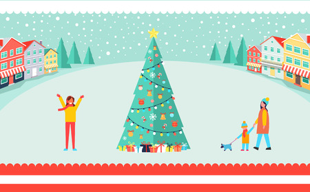 Spacious town square with tall Christmas tree. Illustration