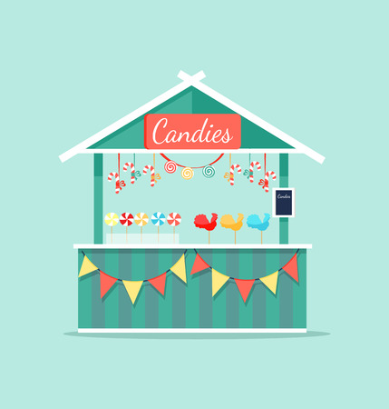 Big Booth with Candies Icon Vector Illustration
