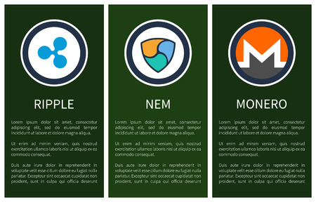 Cryptocurrency signs inside circles promo posters. Blue ripple, colorful nem and orange monero with sample text cartoon flat vector illustrations.