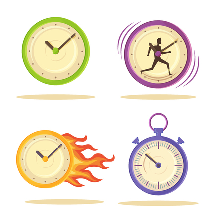 Set of Varied Watch Poster Vector Illustration design.  イラスト・ベクター素材