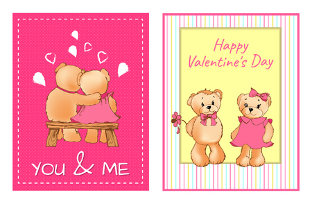 I Love You and Me Teddy Bears Vector Banque d'images - 98878541