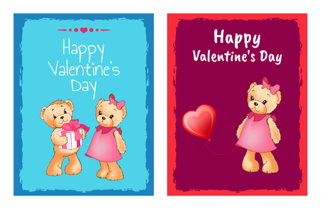 I Love You and Me Teddy Bears Vector illustration.