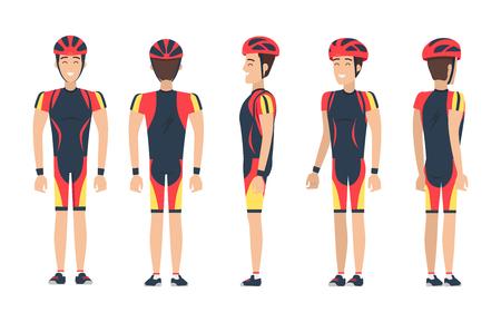 Happy Biker in Special Suit Vector Illustration Illustration