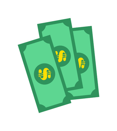Banknotes of Green Color, Vector Illustration design.
