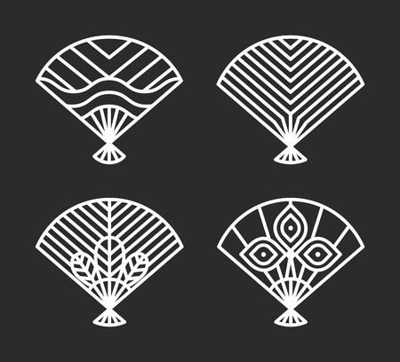 Japanese Icons of Fans Set Vector Illustration design. Banque d'images - 98699297