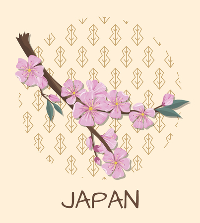 Japan promo poster with sakura branch with pink blossom and pattern in circle isolated cartoon flat vector illustration on beige background.