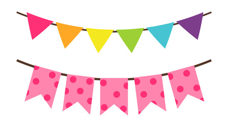 Colorful birthday flags decoration for party vector decorative elements isolated on white background. Multicolor triangular bright paper garlands