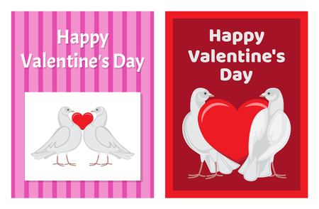 Gorgeous white doves couples in love with big red heart between or behind them isolated cartoon flat vector illustrations set for Valentines day. Foto de archivo - 98626693