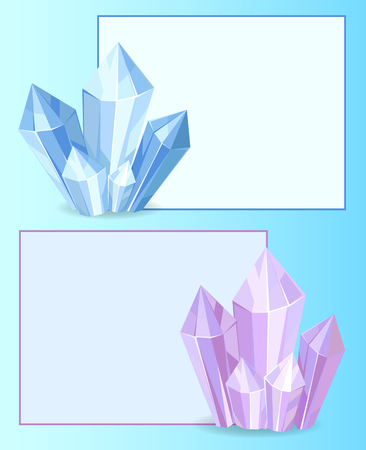 Blue and purple crystals gemstones, organic minerals with square frame border vector illustration set isolated on white background in flat style Stock Illustratie