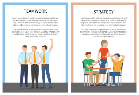 Two strategy teamwork posters vector illustration with two worker groups, text sample, chairs and table isolated on white background with color frames