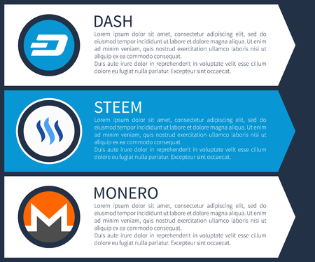 Blue dash, white steem and orange with grey monero round symbols cartoon flat vector illustrations with sample text as description on blue background.