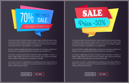 Best product hot exclusive price web poster with push buttons read more and buy now. Vector illustration advertisement banner with info about discount on black background