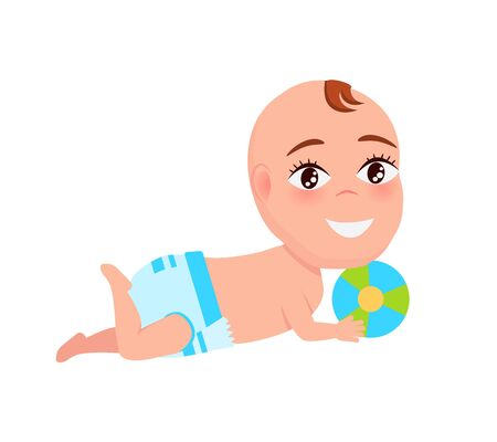 Smiling baby infant in diaper playing with color ball laying on floor, cartoon design vector illustration with little child isolated on white background