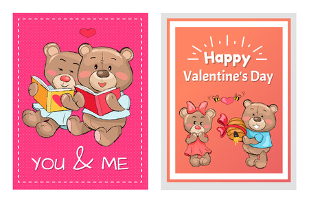 Happy Valentines day you and me posters set, teddy bears in love reading books, presents hive full of honey to lovely girlfriend, greeting cards design Banque d'images - 98626716