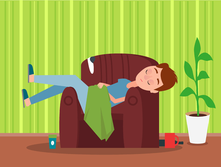 Sleeping in brown armchair man colorful poster with cute flat, green striped wallpaper, pretty plant, two cups black bottle, blue t-shirt and trousers Stock Illustratie