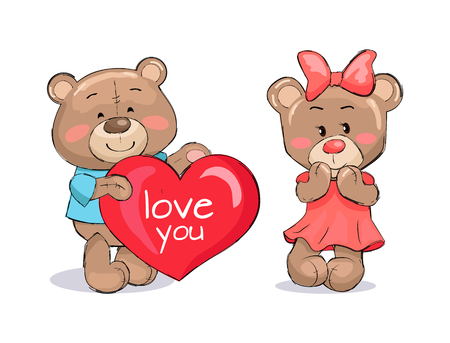 Bear male holding red heart, text I love you, fluffy stuff teddy-bear presents balloon to girlfriend isolated on white cartoon vector ilustration