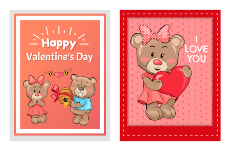 Happy Valentines Day I love you posters male teddy bear holding hive full of honey and smile, bees flying with red heart, present for girlfriend vector Ilustração
