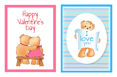 I love you and me teddy bears with heart sign vector illustration of stuffed toy animals, presents for Happy Valentines Day, cartoon posters 版權商用圖片 - 98628109