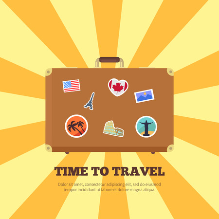 Time to travel bright poster vector illustration of brown suitcase with pretty stickers from different countries isolated on striped yellow background Иллюстрация