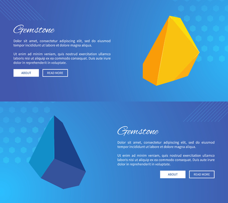 Uncut gemstones with sharp edges on Internet posters templates with sample text and buttons isolated cartoon vector illustrations on blue background.