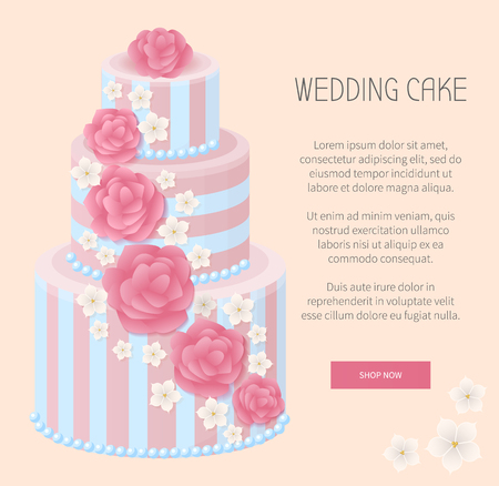 Wedding cake, webpage with button saying shop now, creamy sweets and headline with text sample, vector illustration isolated on pink background
