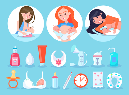 Women and Items Collection Vector Illustration